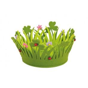 Filzkorb Blumen rund, B14 x H10 cm Oster Frühlings Dekoration