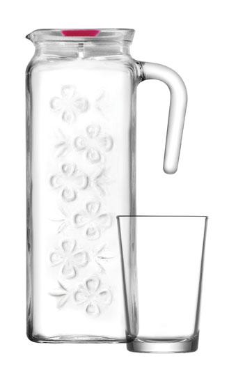 LAV Wasserkaraffe inkl 4 Wassergläsern im Set Bloom Design