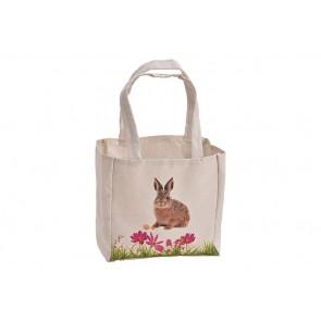 Tasche Hase Dekor mit Henkel aus Textil Beige