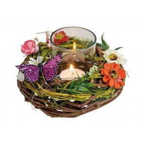 Windlicht Gesteck, Kranz mit Schmetterling, Blumen