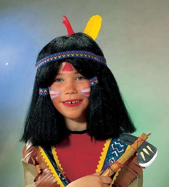 Indianerperücke für Kinder mit Kopfschmuck