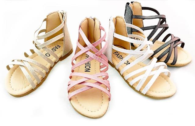 Kinder Baby Mädchen Riemchen Sandale Sandalette Reißverschluss Größen 19-36 Mix Slipper Schuh nur 5,90 Euro