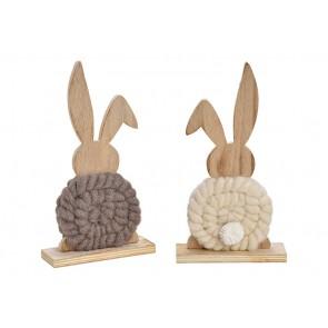 Oster Dekoration Aufsteller Hase aus Holz, Kunstfaser Weiß, braun 2-fach, (B/H/T) 14x25x5cm