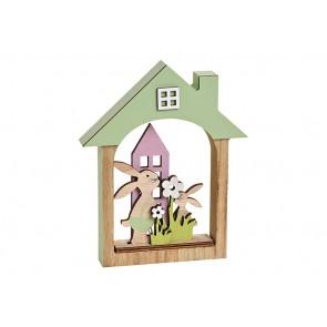 Oster Dekoration Aufsteller Hase im Haus aus Holz Bunt (B/H/T) 14x17x2cm