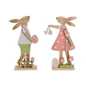 Oster Dekoration Aufsteller Hase mit Osterei aus Holz Bunt 2-fach, (B/H/T) 11x20x4cm
