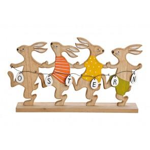Oster Dekoration Aufsteller Hasengruppe Ostern aus Holz Bunt (B/H/T) 40x22x6cm