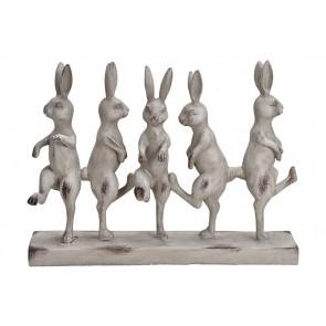 Oster Dekoration Hasengruppe aus Poly antik Grau (B/H/T) 39x30x9cm