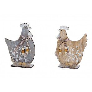 Oster Dekoration Huhn grau,braun aus Holz 2-fach, (B/H/T) 11x16x4cm