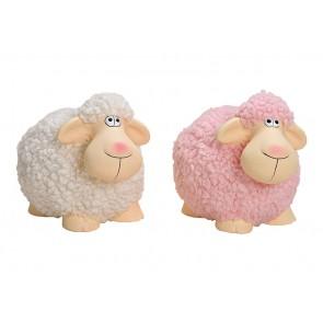 Oster Dekoration Schaf aus Ton, Kunstfaser Weiß, pink 2-fach, (B/H/T) 18x13x12cm