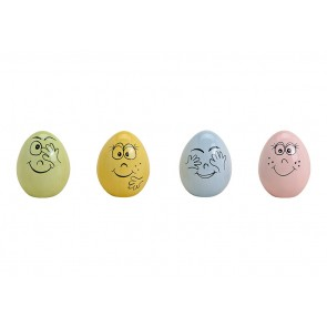 Oster Eier Frühlings Dekoration Dekoeier mit Gesicht aus Keramik Bunt 4-fach, (B/H/T) 4x5x4cm