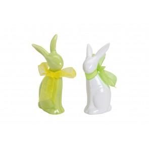 Oster Frühlings Dekoration Hase in weiß/grün aus Porzellan, 2-fach sortiert, 9 cm