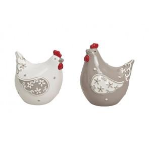 Oster Frühlings Dekoration Huhn in grau/weiß aus Keramik, 2-fach sortiert, B7 x T6 x H9 cm