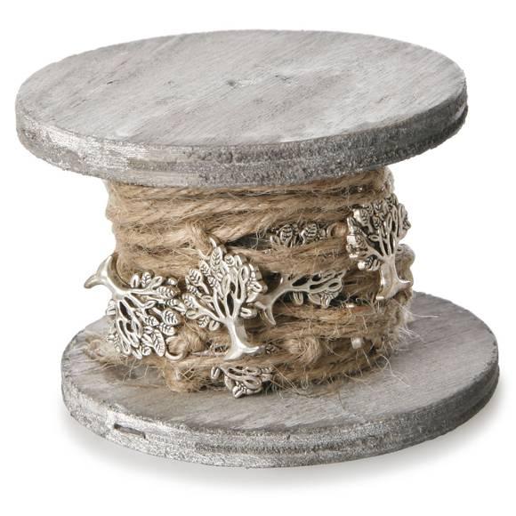 Dekorationsband Bäume auf Holz spule gewickelt