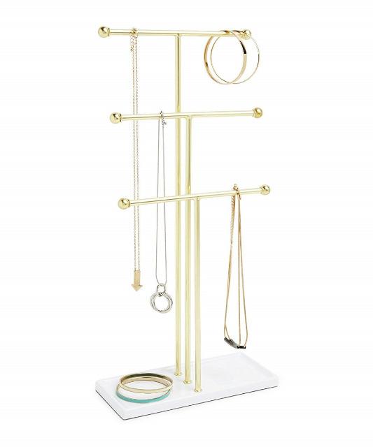 Umbra Trigem Schmuckständer 299330-524 weiß / goldfarben Schmuckbaum Halskettenaufhängung, Ringablage, Schale, Stil, Armband
