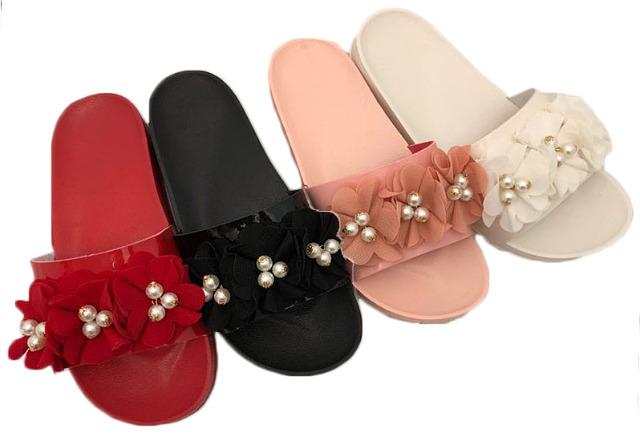 Damen Woman Sommer Trend Slipper Strandschuh Blume Perle Badeschlappen Slip on Schuh Shoes Sommer Freizeit Mix - 5,90 Euro