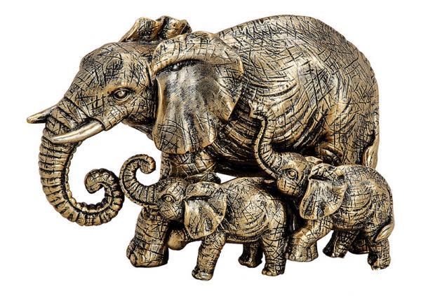 Elefantengruppe aus Poly Gold (B/H/T) 13x8x7cm