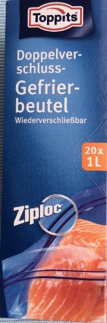 12-6735449, TOPPITS Ziploc Doppel-Zip-Verschluss Gefrierbeutel, 1 Liter, 20er Set, Doppelverschluss, Wiederverschließbare Beutel
