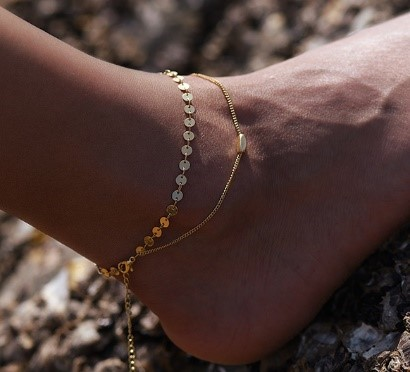 Fußkette New Arrival Elegant Double Chain Round Coin Anklet Bracelet Seaside Indian Foot Jewelry NEU