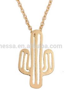 Halskette Kaktus - Fashion cactus 18k gold necklace NEU