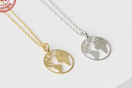 Halskette Wetkugel Silber oder Gold - 925 Silver Gold Plated World Map Necklace Globe Pendant Globe Choker NEU
