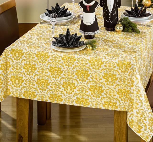 Tischdecke mit gelbe Ornamente