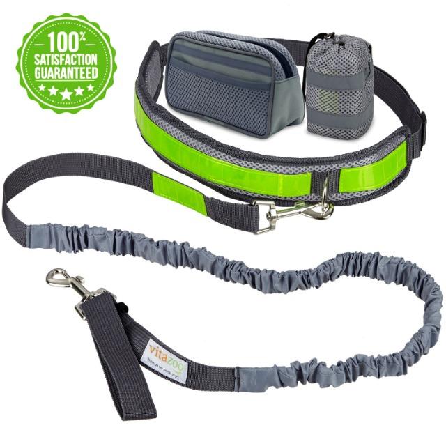 Hundejoggingleine mit Bauchgurt und Reflektor-Streifen