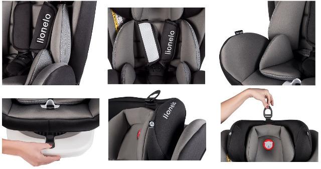 Lionelo Bastiaan Auto Kindersitz mit Isofix in grau Baby Autositz + Gratis Zubehör Sicherheit Kopfstütze