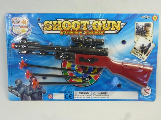 Shoot GUN Spielset, Gewehr mit Zielfernrohr mit 3 Pfeilen zum Abschießen