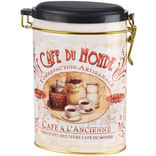 28-081342, Metall Kaffeedose mit französischer Aufschrift Cafe du Monde / Cafe a l´ancienne