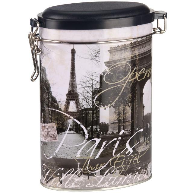 28-084947, Metall Kaffeedose mit Paris-Foto und Aufschrift, mit Bügelverschluß