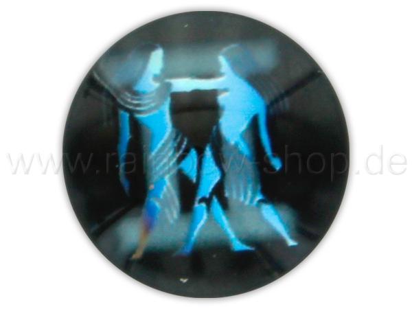 A-ch364 Chunk Button Design: Sternzeichen Zwilling Farbe: schwarz türkis