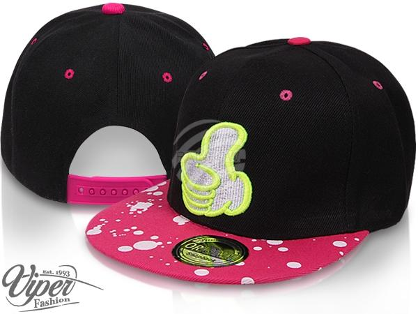 "CAP-106 Snapback Flatbrim Cap ""Thumb up"" Farbe: schwarz / pink"