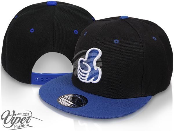 "CAP-107 Snapback Flatbrim Cap ""Thumb up"" Farbe: schwarz / blau"