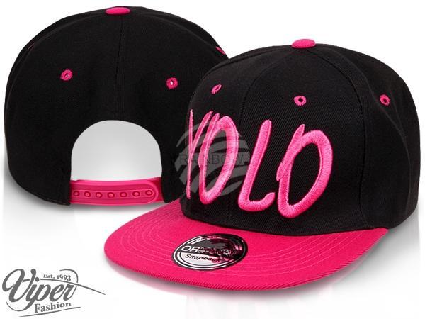 "CAP-16YOLO Snapback Flatbrim Cap ""YOLO"" Farbe: schwarz / pink"