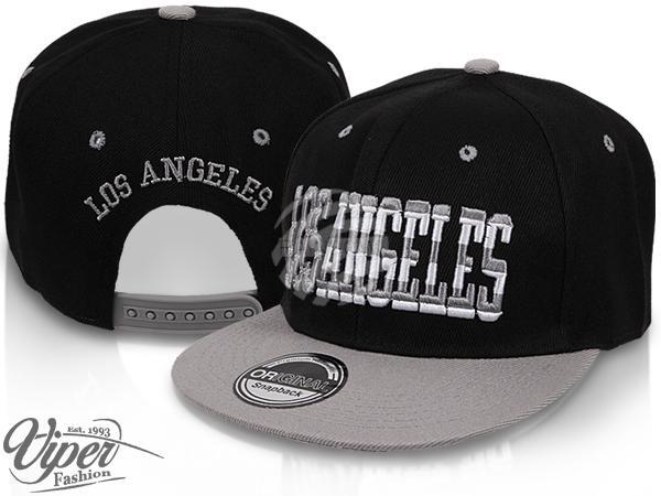 "CAP-17LA Snapback Flatbrim Cap ""Los Angeles"" Farbe: schwarz / grau"
