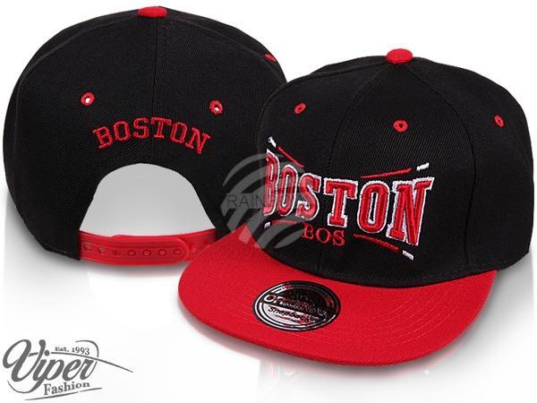 "CAP-30BOS Snapback Flatbrim Cap ""Boston"" Farbe: schwarz / rot"