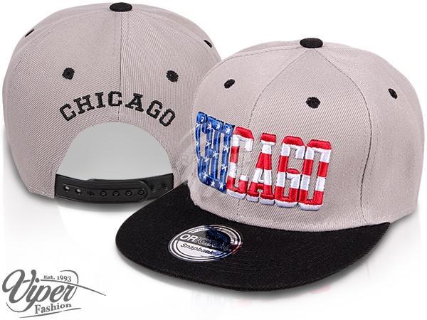 "CAP-33CHI Snapback Flatbrim Cap ""Chicago"" Farbe: grau / schwarz"