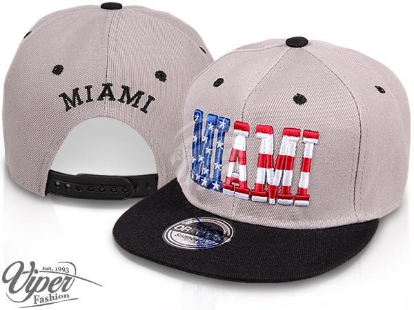 "CAP-37MIA Snapback Flatbrim Cap ""Miami"" Farbe: grau / schwarz"