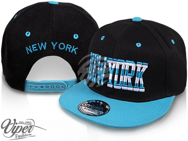 "CAP-40NY Snapback Flatbrim Cap ""New York"" Farbe: schwarz / hellblau"