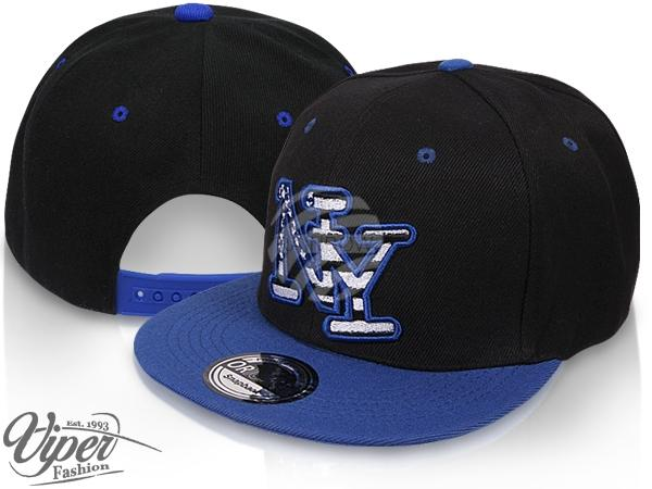 "CAP-92 Snapback Flatbrim Cap ""New York"" Farbe: schwarz / blau"