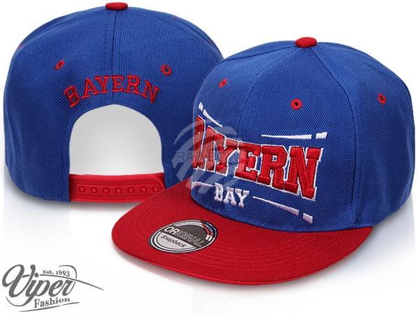 "CAP-BAY04 Snapback Flatbrim Cap ""Bayern"" Farbe: blau / rot"