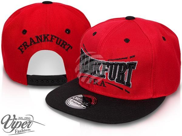 "CAP-FRA02 Snapback Flatbrim Cap ""Frankfurt"" Farbe: rot / schwarz"