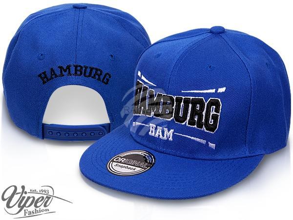 """CAP-HAM02 Snapback Flatbrim Cap """"Hamburg"""" Farbe: blau"""