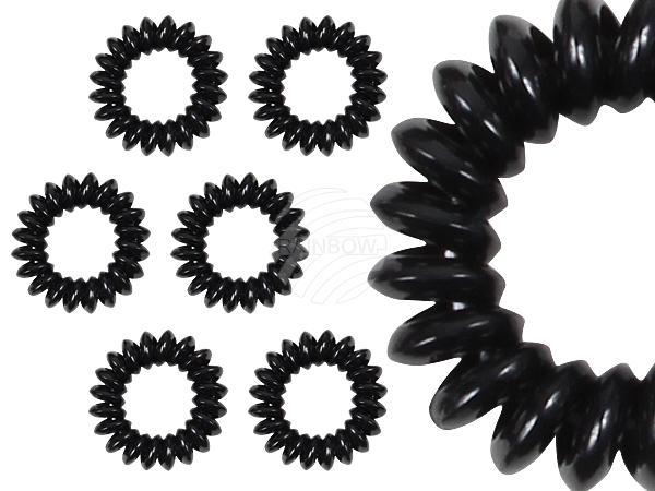 HG-12 Spiral-Haargummis schwarz, dickes Material, Ø ca. 3 cm