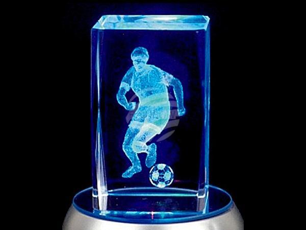 KQ-098 Kristall Quader Motiv: Fussballer Farbe: klar