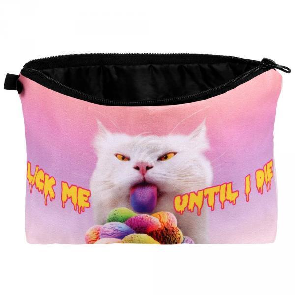 """KT-027 Kosmetik Tasche mit Motiv """"Katze: Lick me until I die"""""""