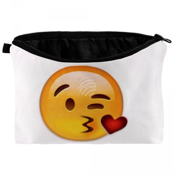 KT-059 Kosmetiktasche mit Motiv Design: Emoticon Kuss Farbe: gelb, rot