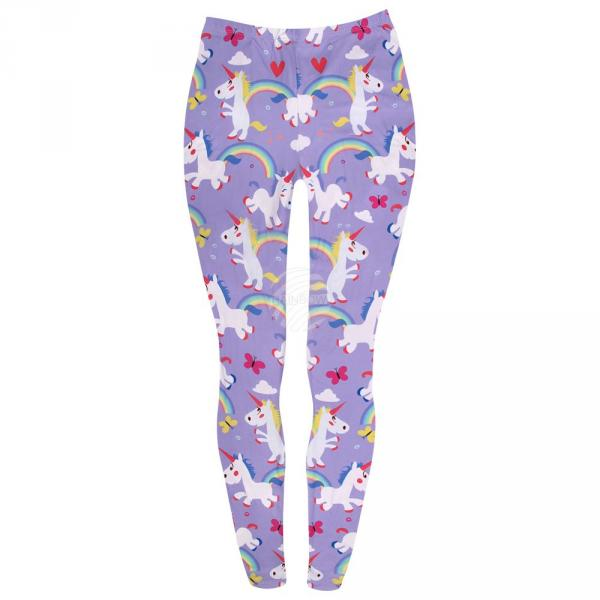 LEG-124 Damen Motiv Leggings Einhorn multicolor