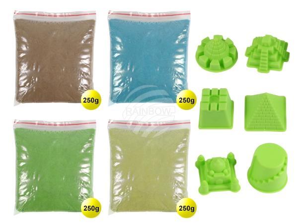 MG-05 Magischer Sand Sandformen Sand multicolor, Formen grün ca. 1000g