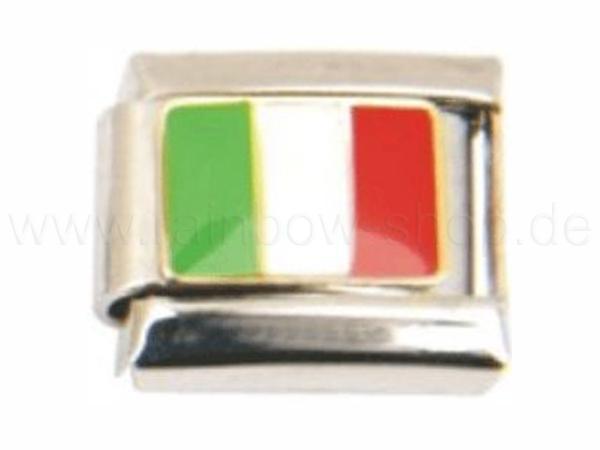 N-076 Italian Charm mit Motiv Länderfahne Italien Silber Grün Weiss Rot